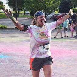 Runner at the color burst 5K run