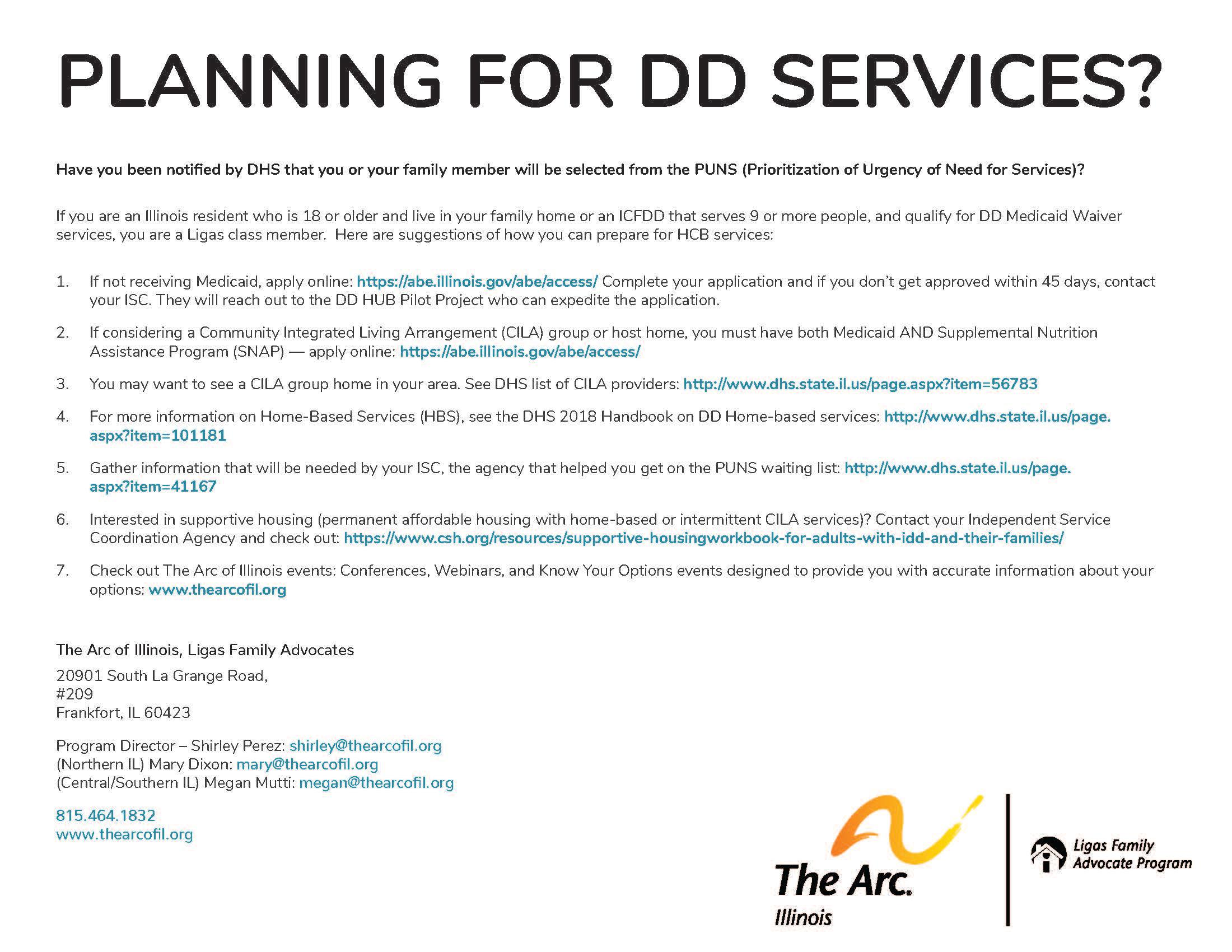 Planning for DD Services
