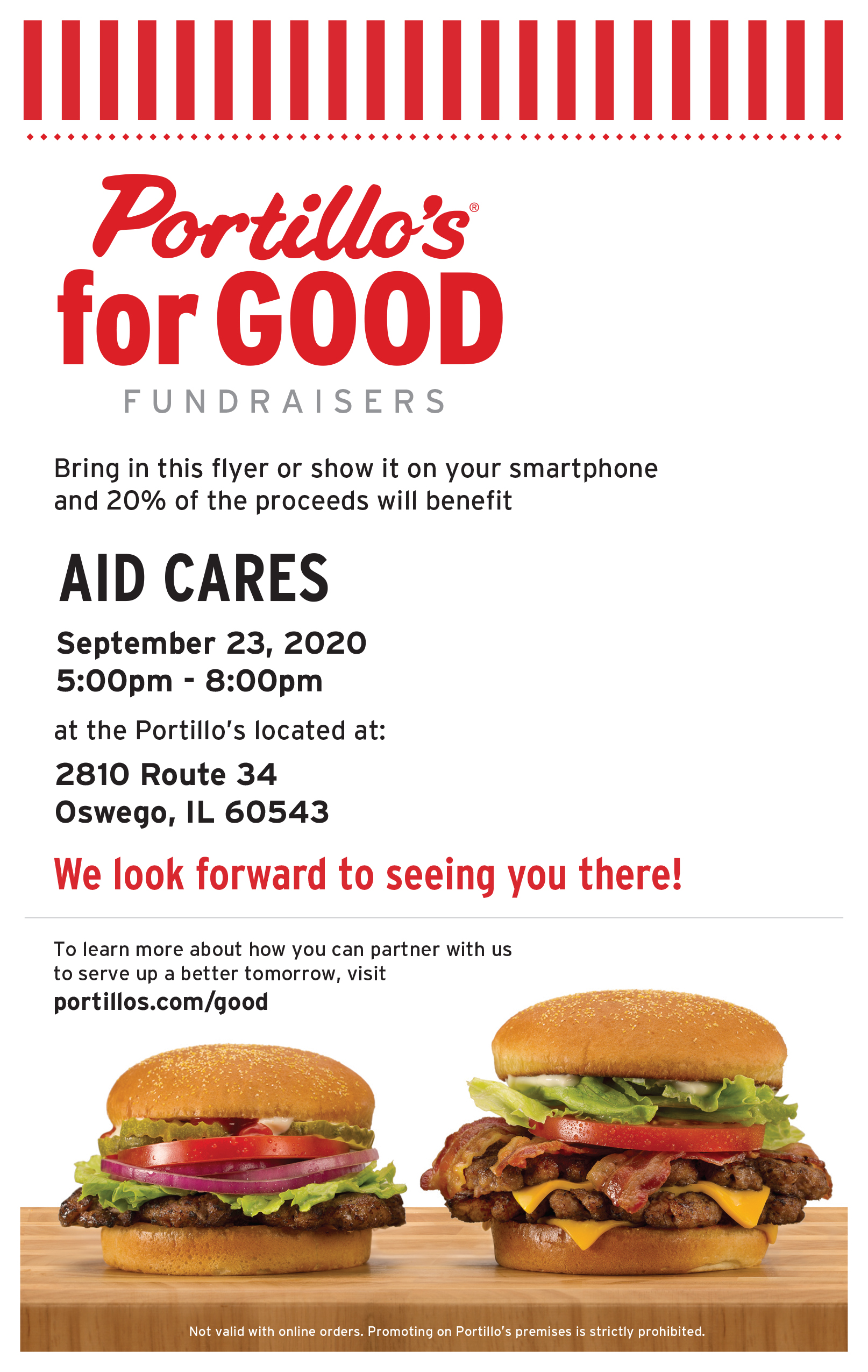 Oswego Portillos Fundraiser Flyer